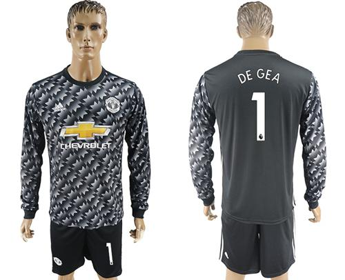 Manchester United #1 De Gea Black Long Sleeves Soccer Club Jersey